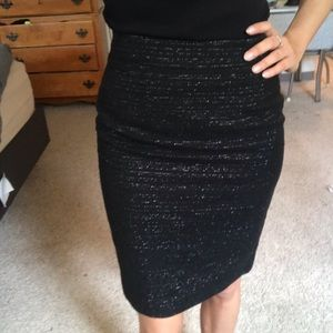 Trina Turk black twill pencil skirt